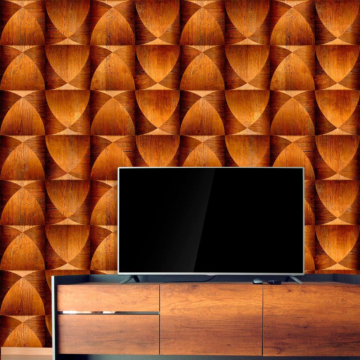Papel de Parede Madeira 3D Triângulos Geométrico Adesivo P042