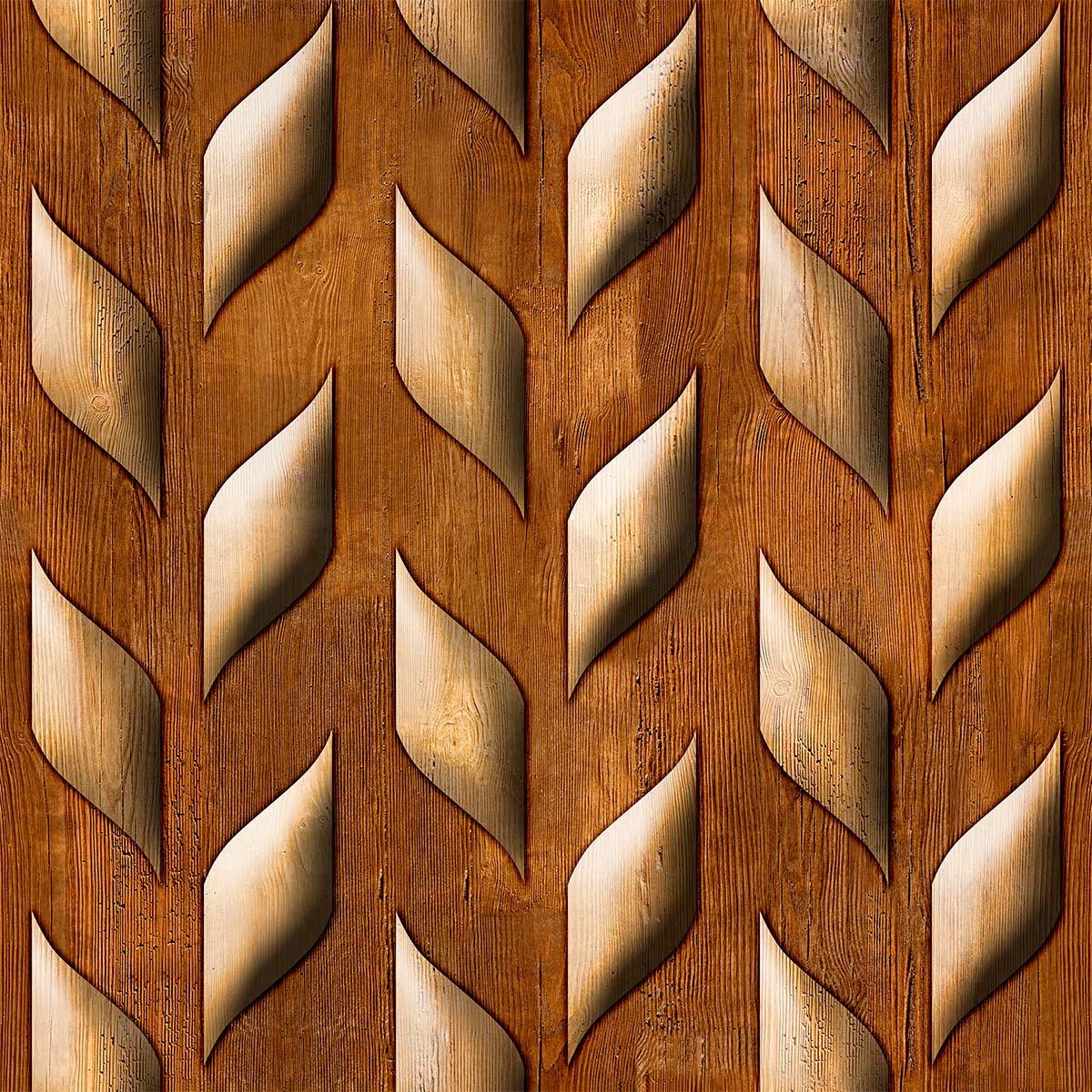 Papel de Parede Madeira Cedro Folhas Aspecto 3D Adesivo P038