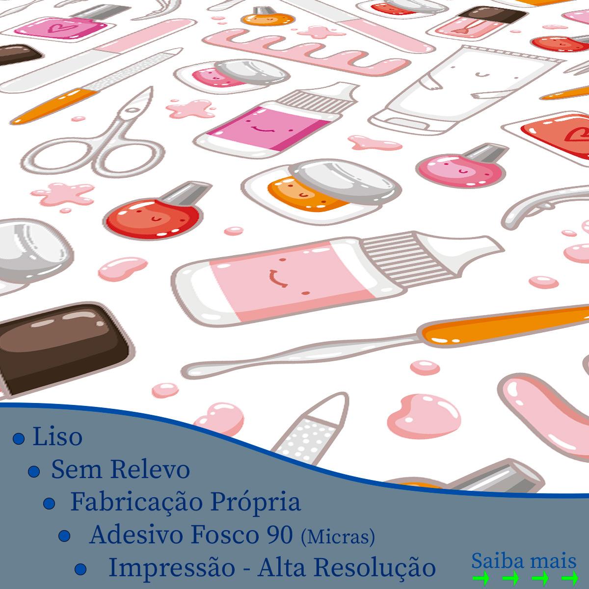 Papel de Parede Manicure Esmaltes Alicates Adesivo