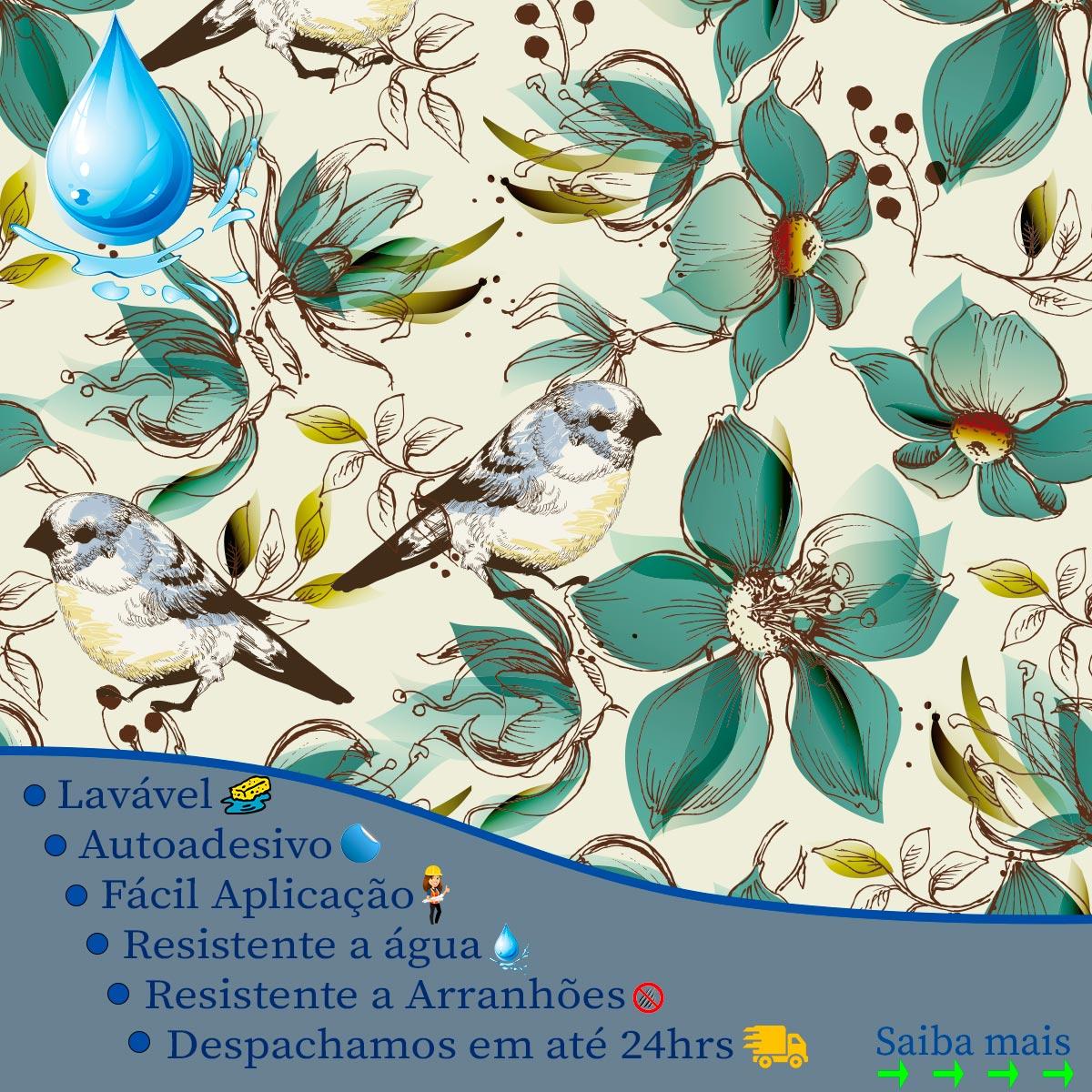 Papel de Parede Natureza Tropical Floral Passaros Adesivo