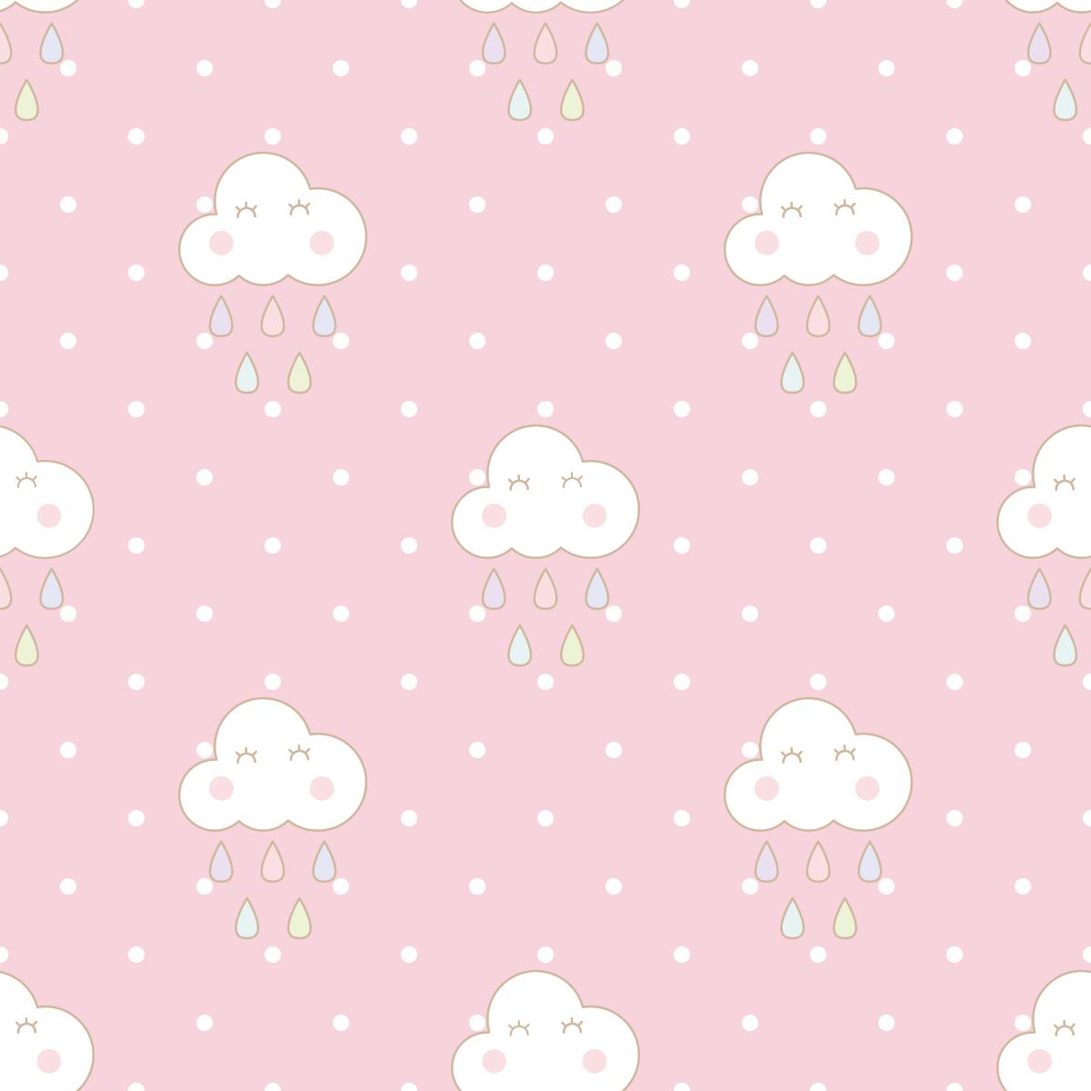 Papel de Parede Nuvens Bebê Poa Chuva Adesivo