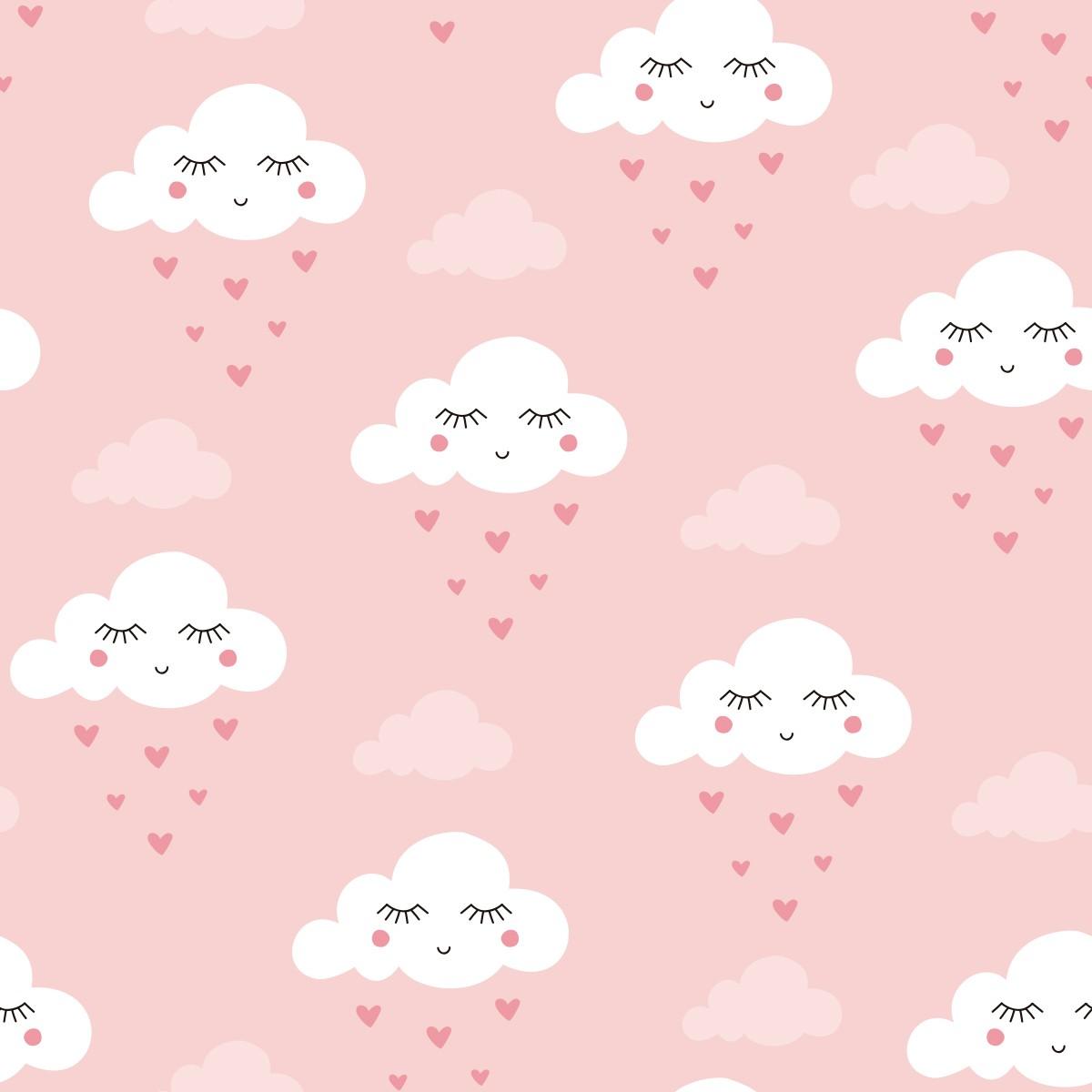 Papel de Parede Nuvens Chuva de Corações Adesivo