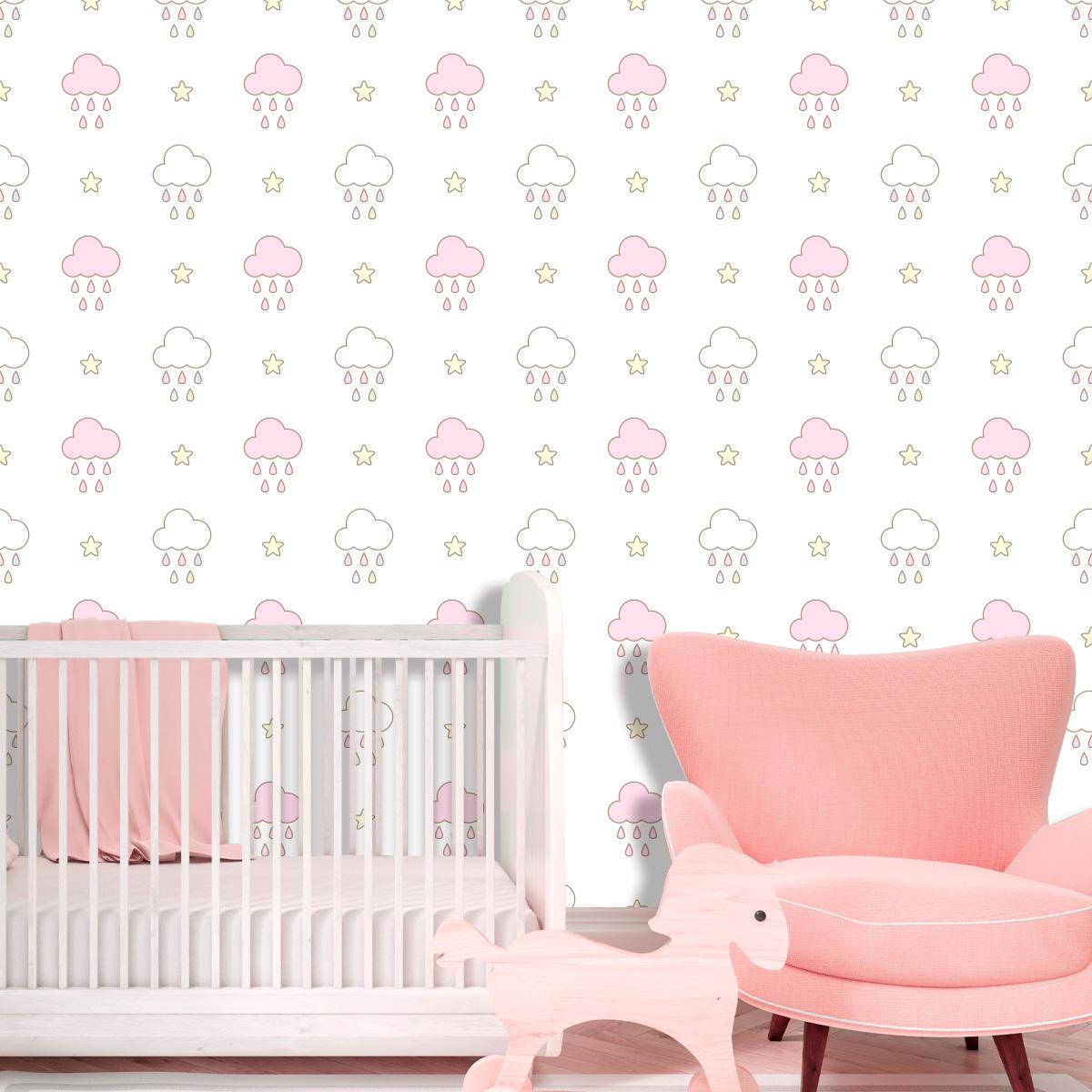 Papel de Parede Nuvens Chuva Estrelas Bebê Adesivo