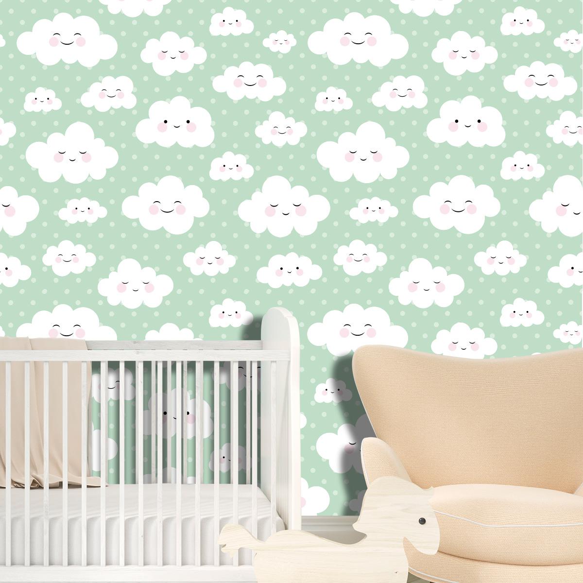 Papel de Parede Nuvens Poa Bebê Adesivo