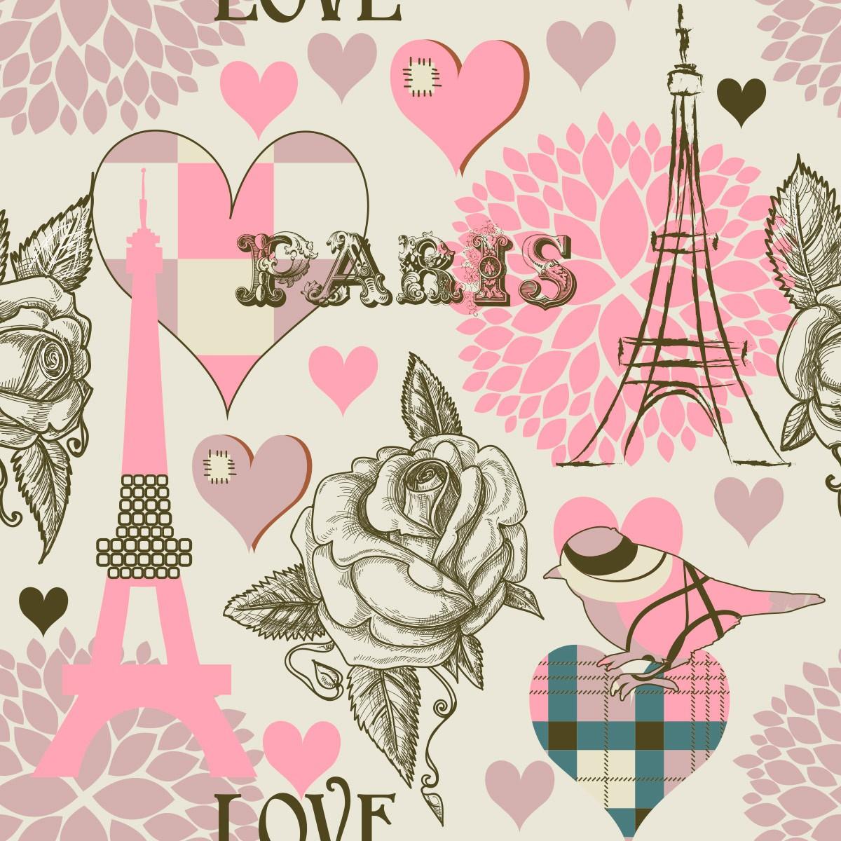 Papel de Parede Paris Floral Pássaros Love Torre Adesivo