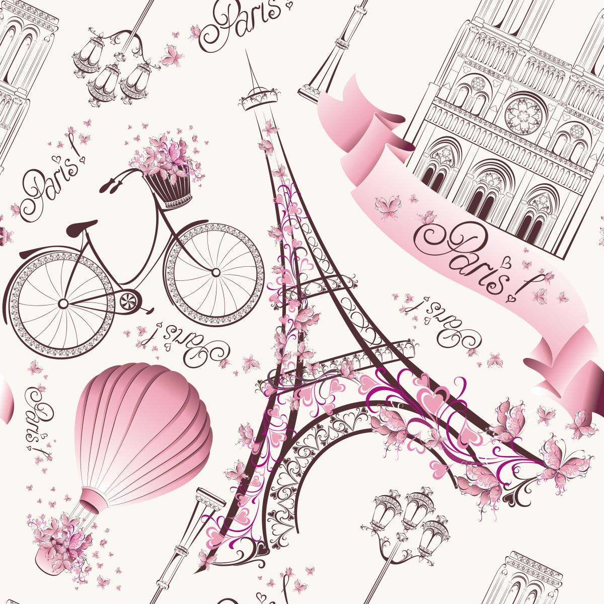 Papel de Parede Paris Torre Eiffel Balão Infantil Adesivo