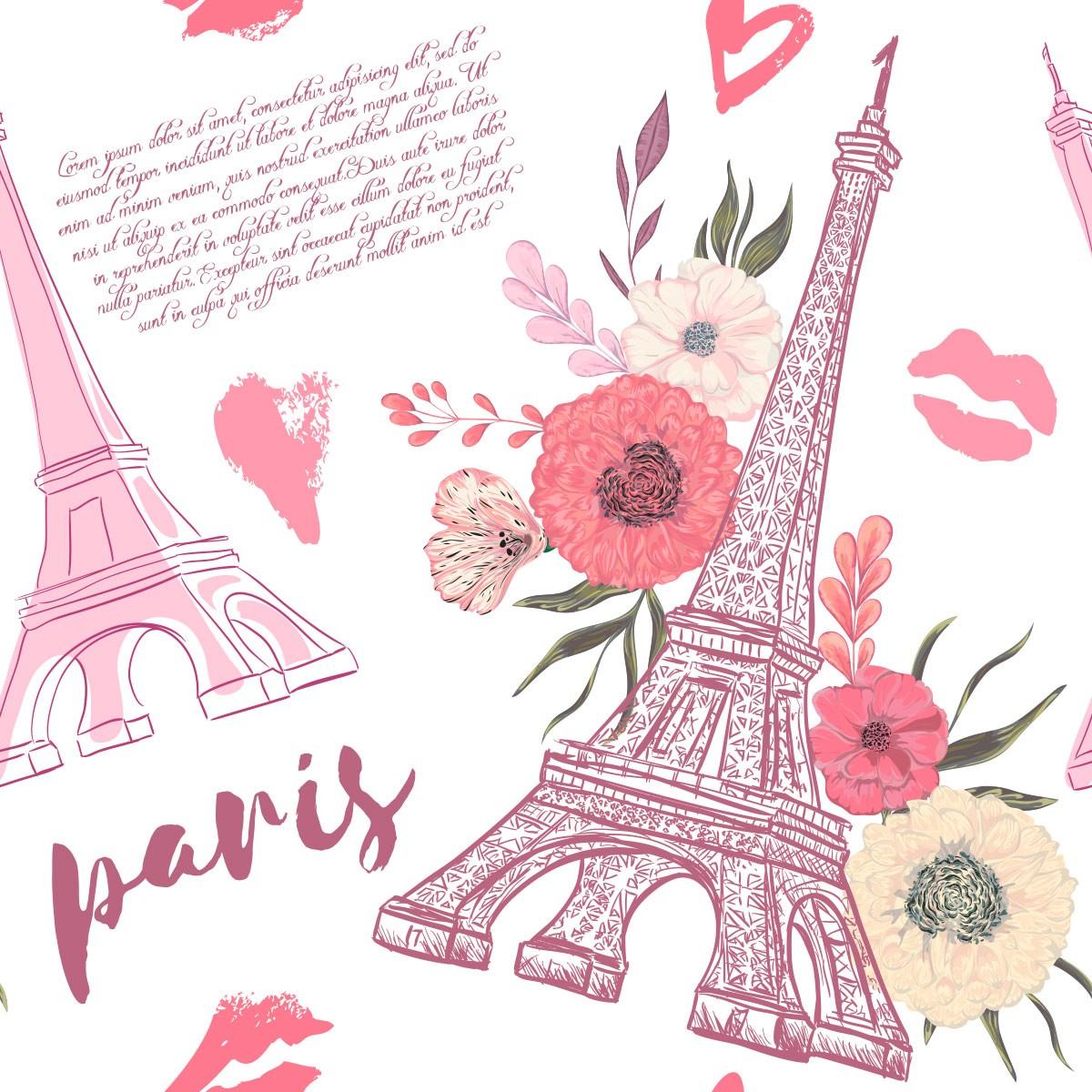 Papel de Parede Paris Torre Eiffel Love Beijo Floral Adesivo