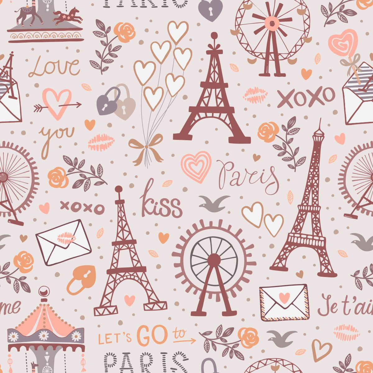 Papel de Parede Paris Xoxo Torre Eiffel Park Love Adesivo