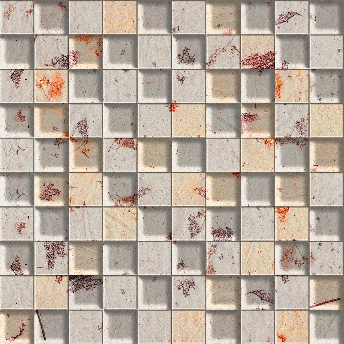 Papel de Parede Pastilhas 3D Cinza Detalhes Bege Adesivo