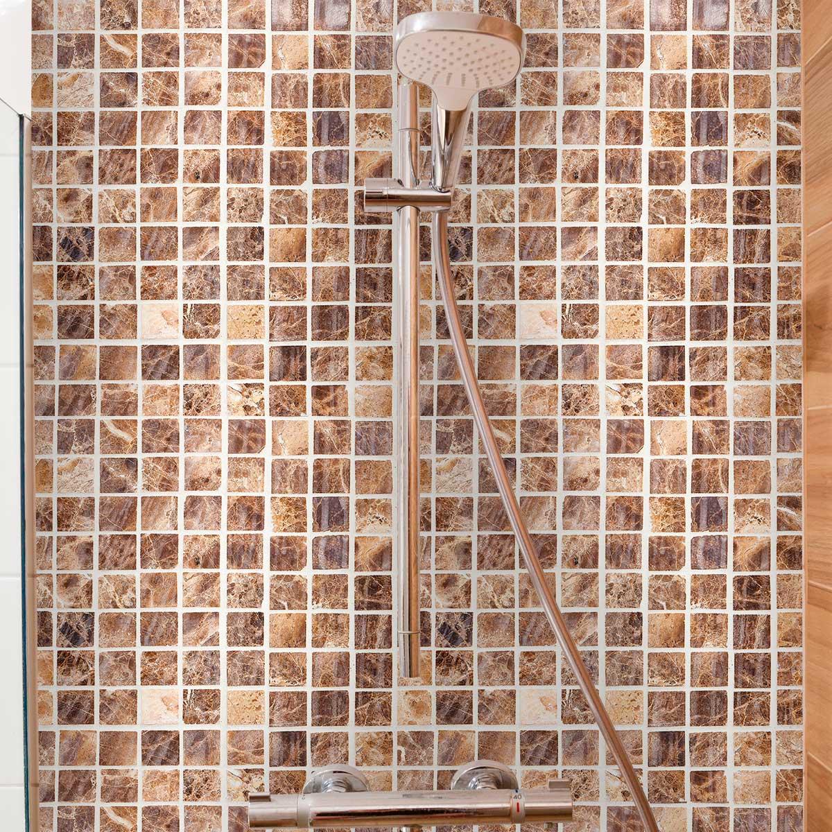 Papel de Parede Pastilhas 3D Tons Diversos Adesivo