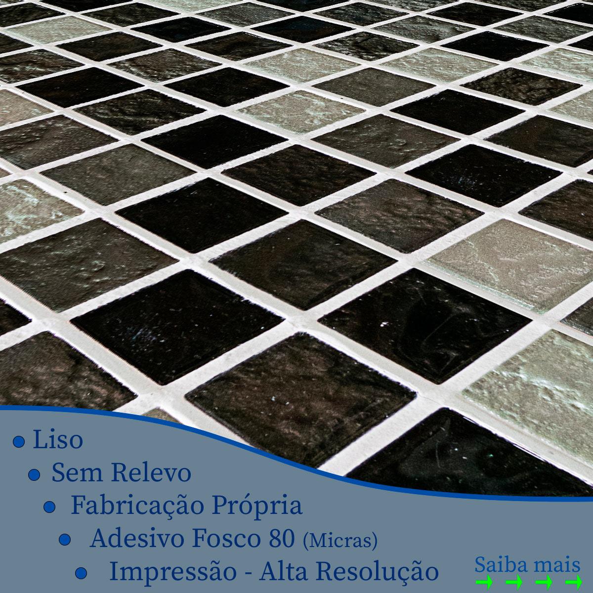 Papel de Parede Pastilhas Aspecto 3D Preto Cinza Adesivo