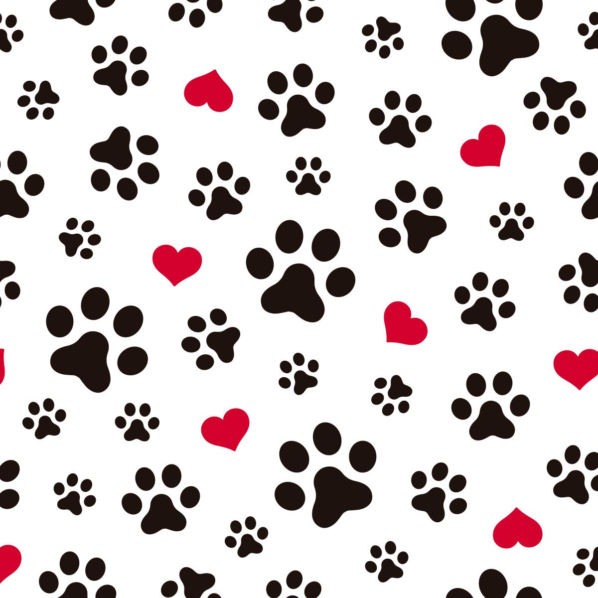 Papel de Parede Pet Shop Patas e Corações Adesivo