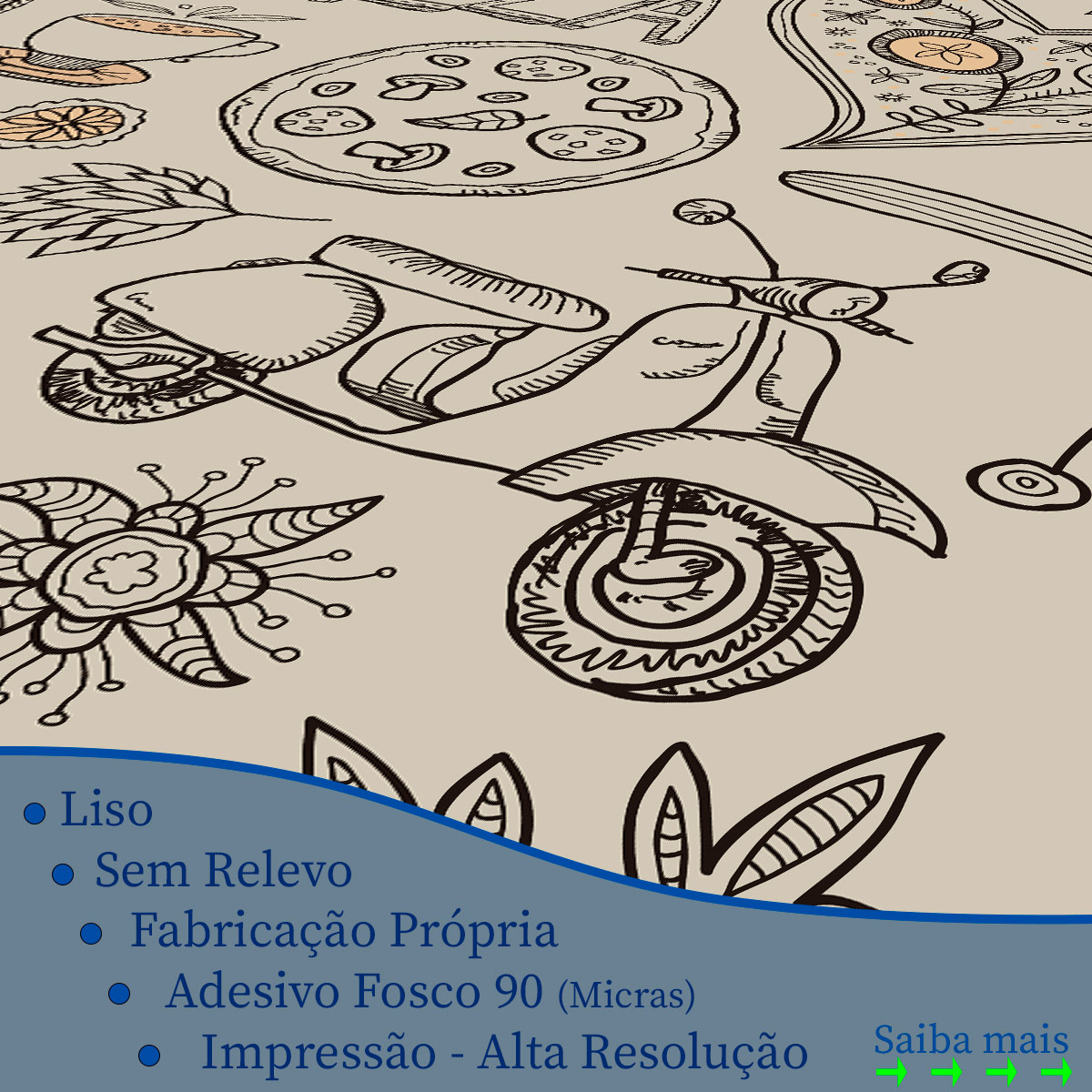 Papel de Parede Pizzaria Food Floral Love Adesivo