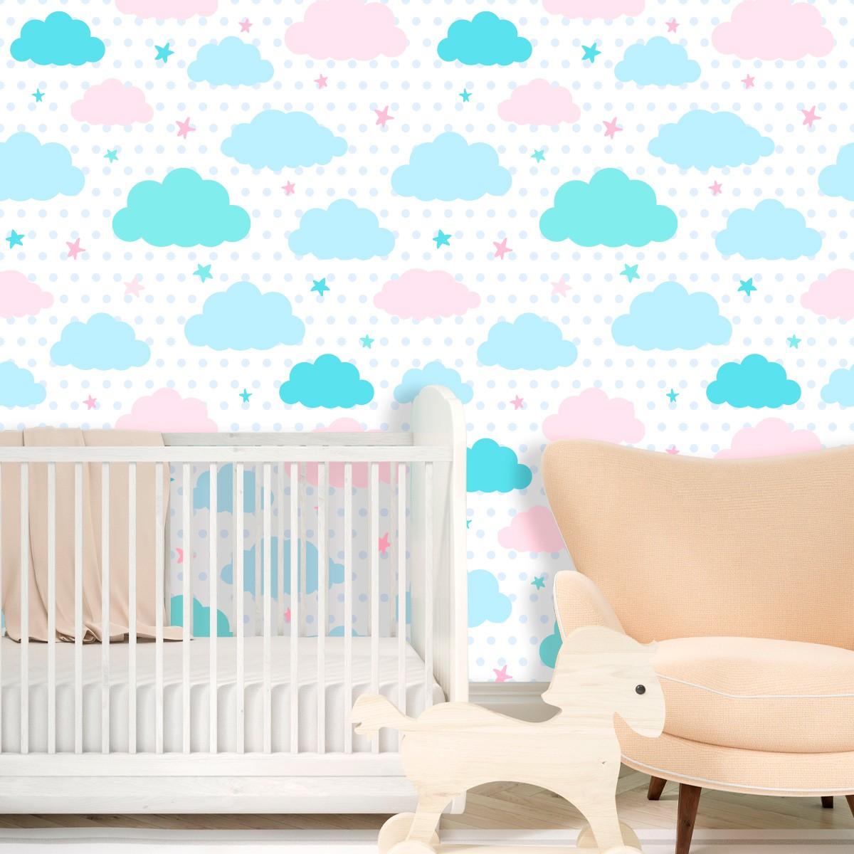 Papel de Parede Poa Nuvens Estrelas Colorida Bebê Adesivo