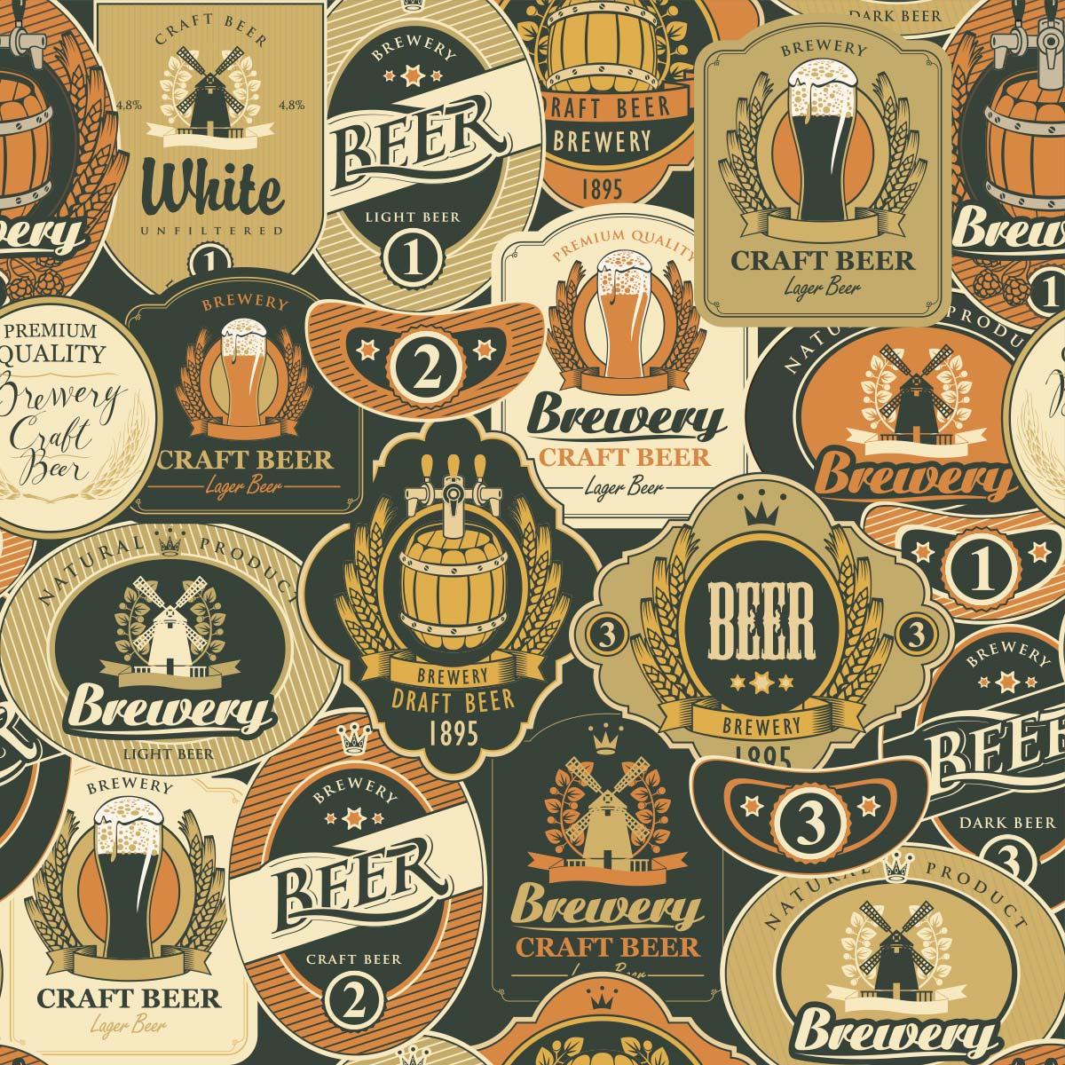 Papel de Parede Rótulos Beer Vintage Barzinhos Adesivo