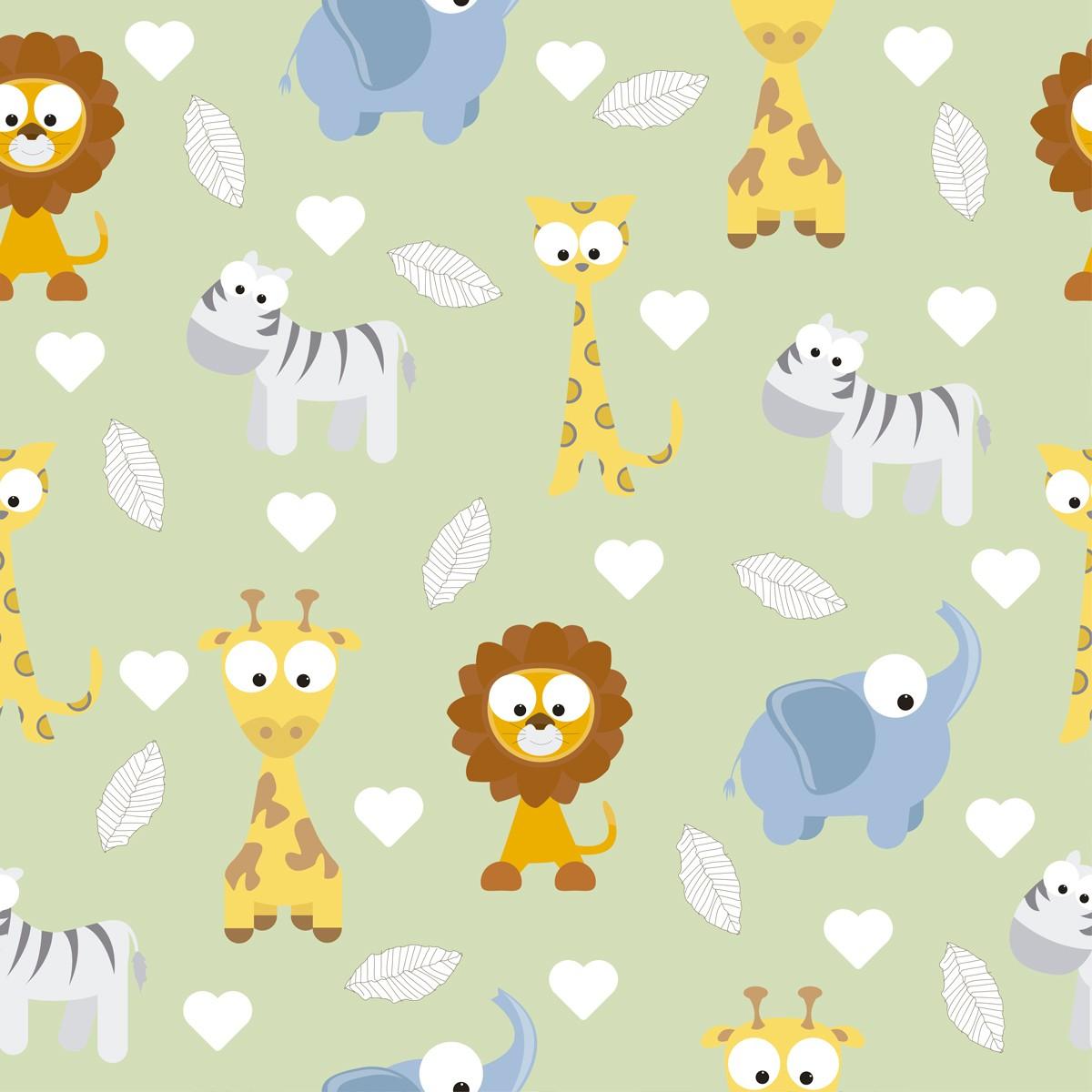 Papel de Parede Safari Zoológico Animais Love Bebê Adesivo