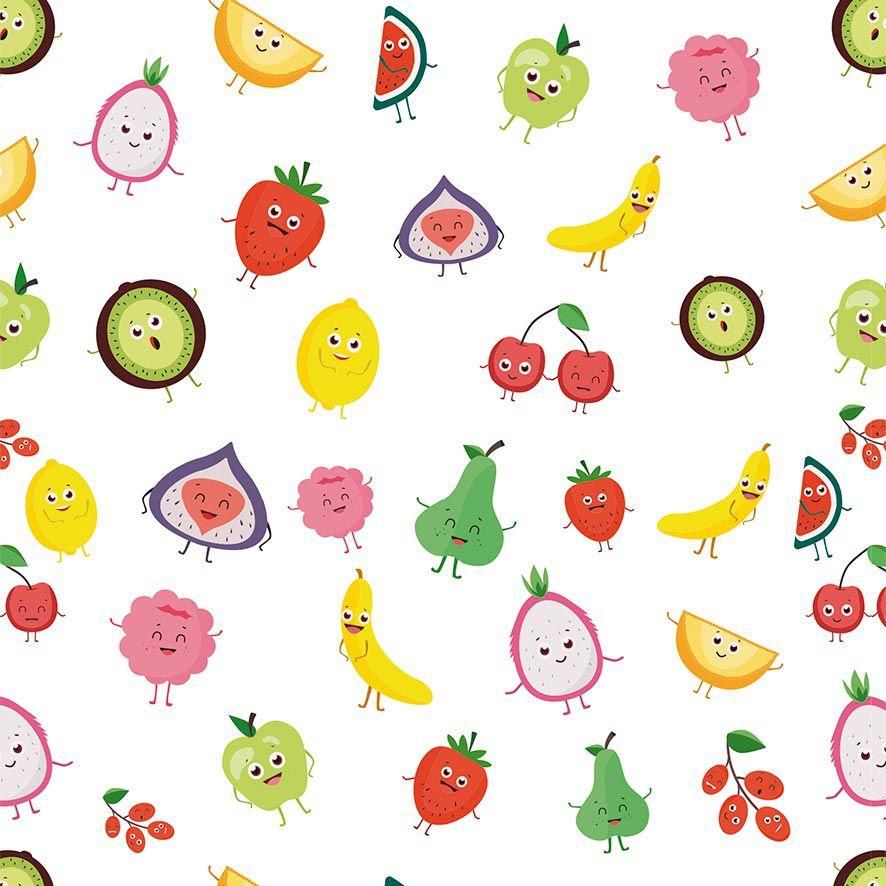 Papel de Parede Salada de Frutas Morangos Peras Adesivo P879