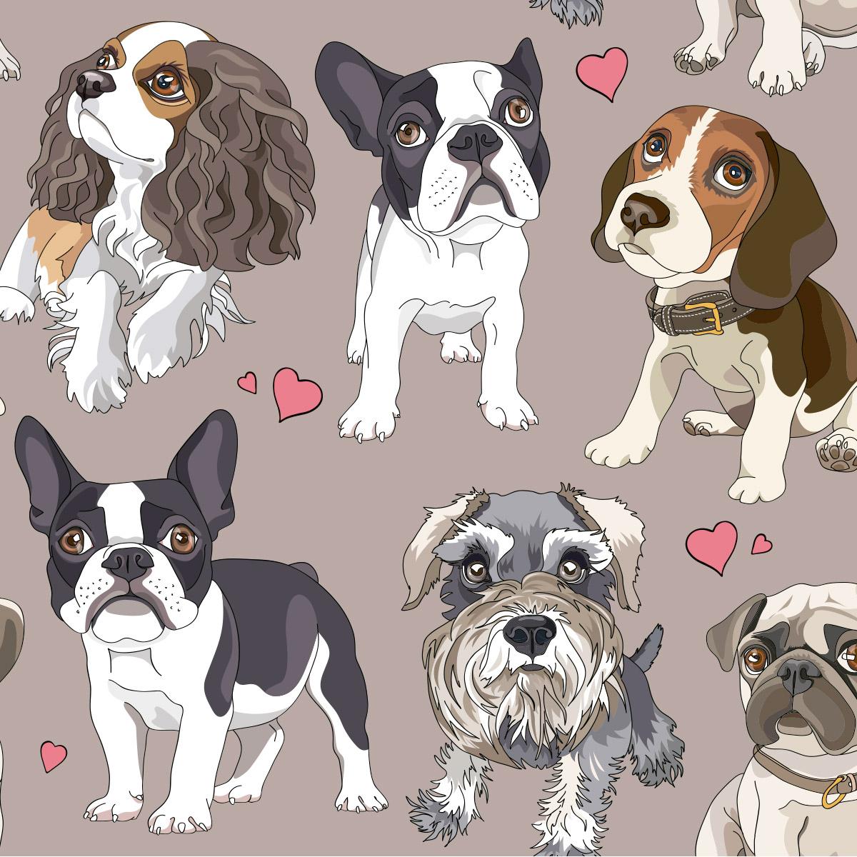 Papel de Parede Temático Pet Shop Cachorros Adesivo