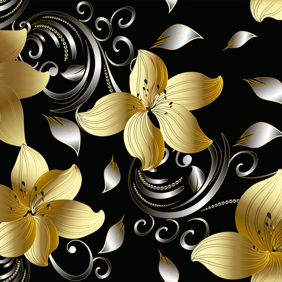 Papel de Parede Tribal Flores Folhas Gold Adesivo