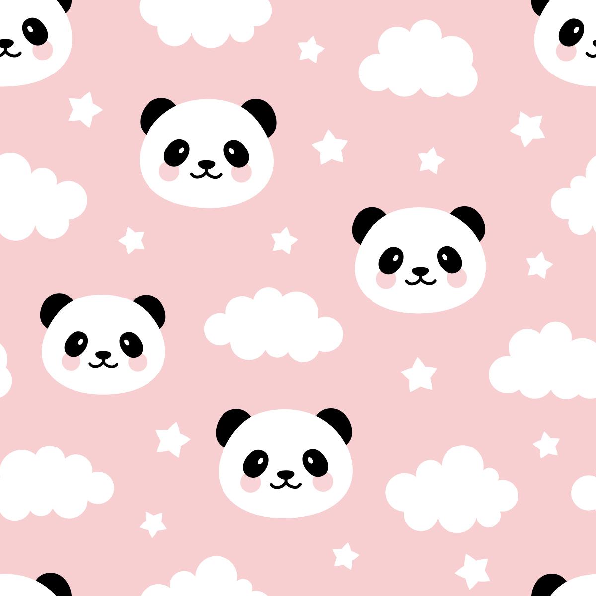 Papel de Parede Ursinho Panda Estrelas Nuvens Adesivo