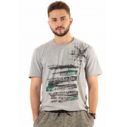 Camiseta Dioxes Estampada Cinza