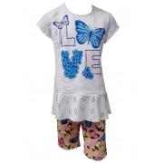 Conjunto Dioxes infantil feminino verão borboleta