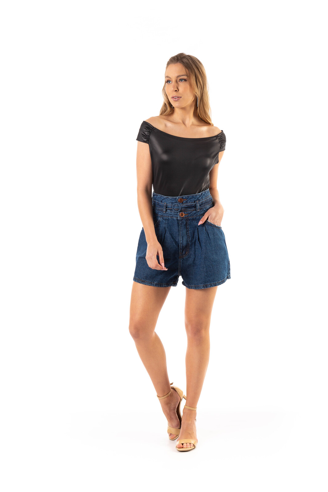 Bermuda jeans Dioxes cintura alta com pregas
