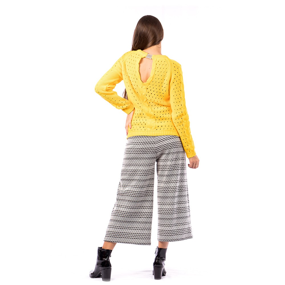 Blusa Carlan Manga Longa de Tricot Aberta Costas Amarelo