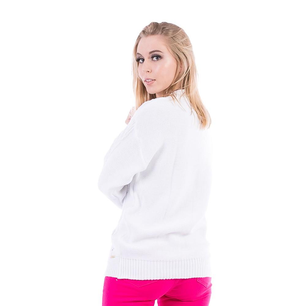 Blusa Carlan Manga Longa de Tricot Branco