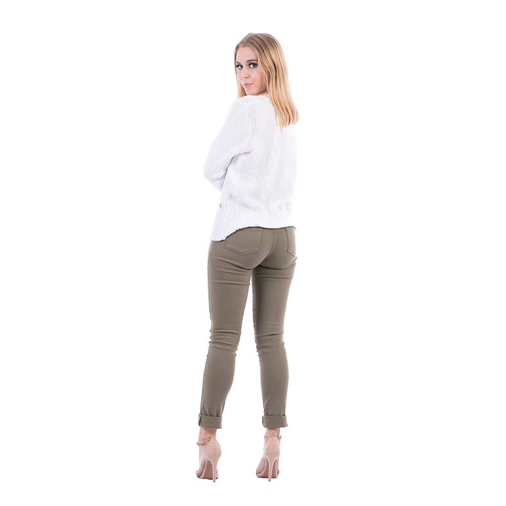 Blusa Carlan Manga Longa de Tricot Com Fita Branco