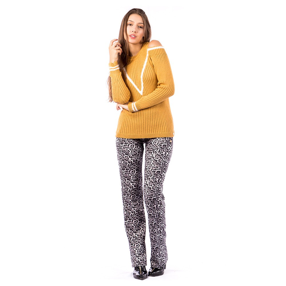 Blusa Carlan Manga Longa de Tricot Cigana Amarelo