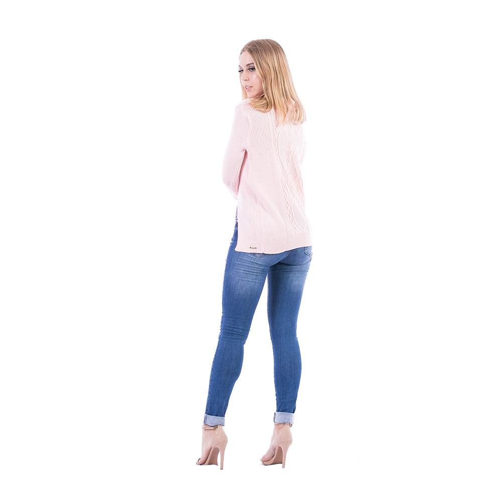 Blusa Carlan Manga Longa de Tricot Rosa