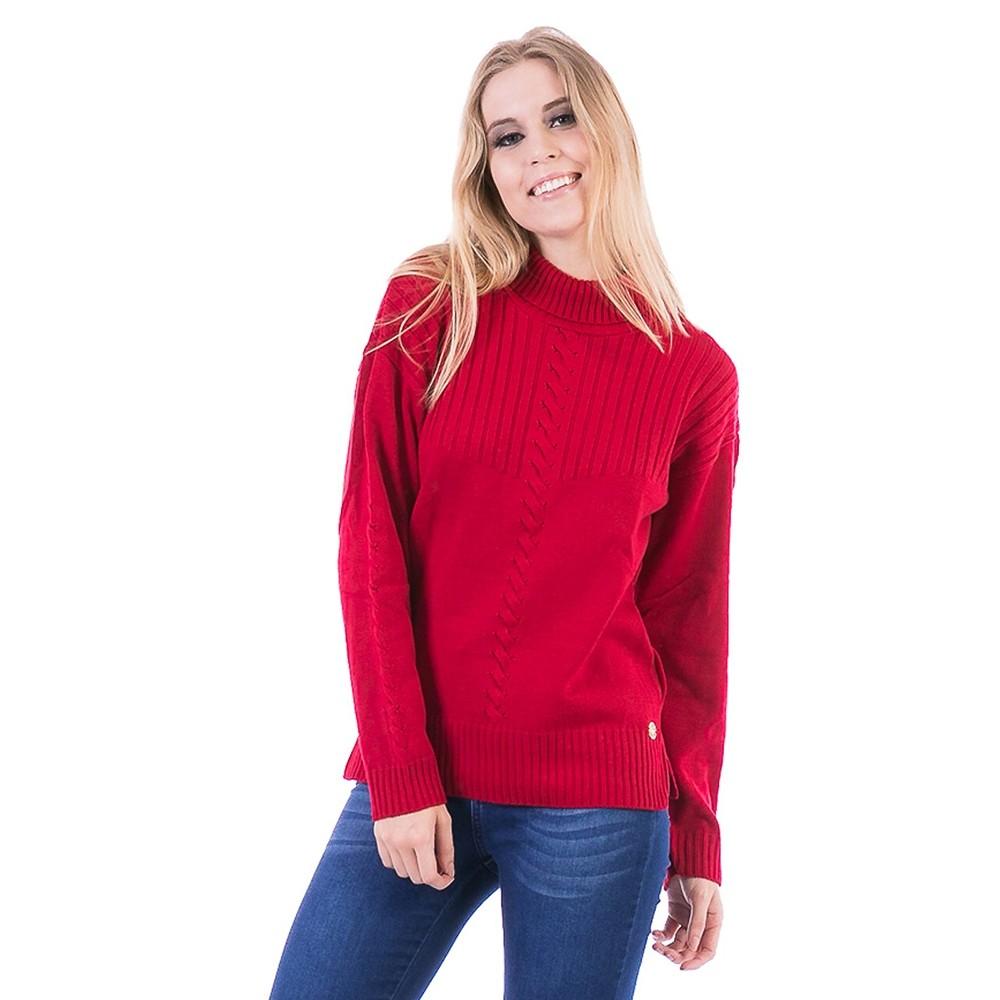 Blusa Carlan Manga Longa de Tricot Vermelho