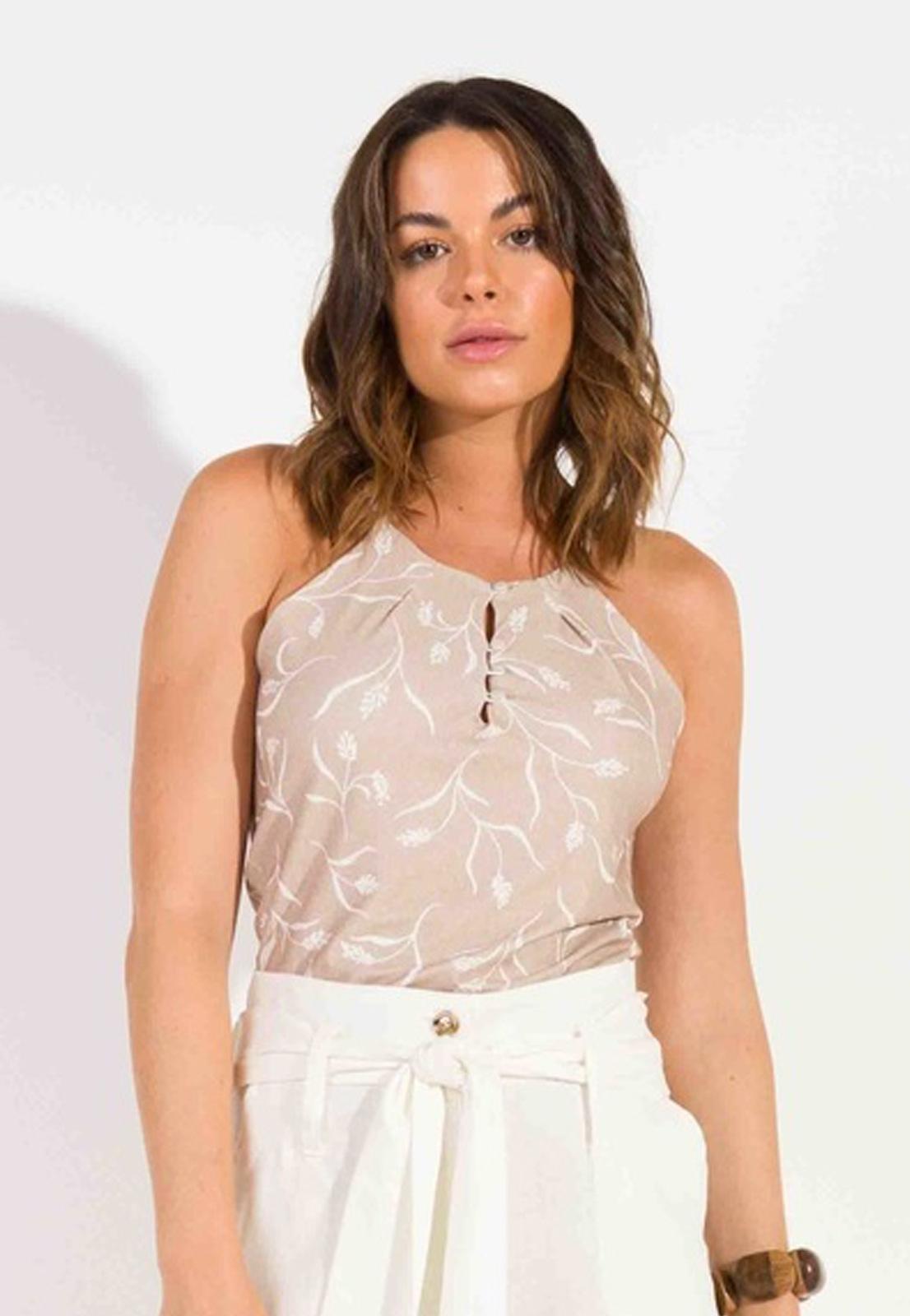 Blusa Dioxes feminina verão malha com botões
