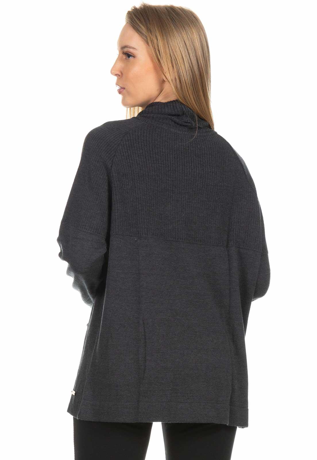 Blusa Dioxes Manga Longa com Bolso de Tricot