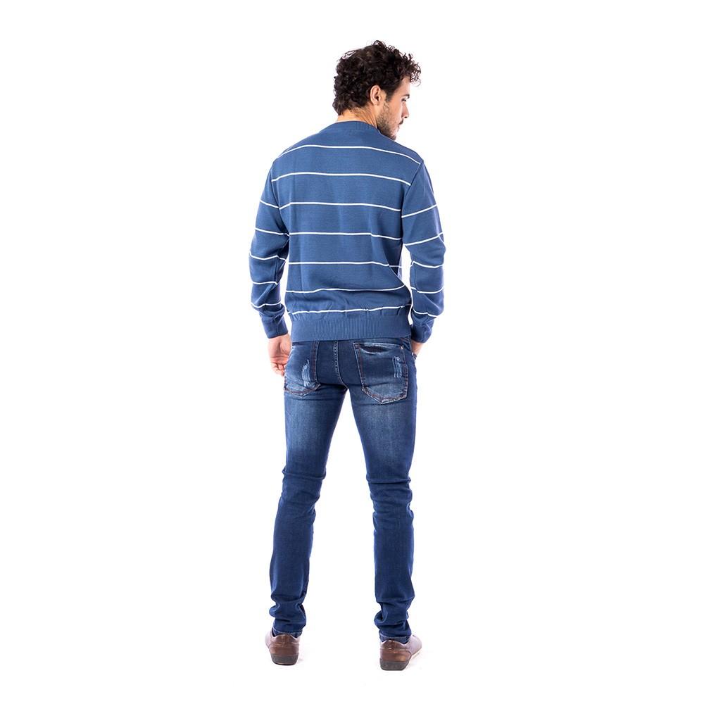 Blusa Carlan Manga Longa de Tricot Azul