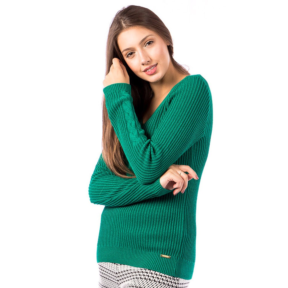 Blusa Carlan Manga Longa de Tricot Verde