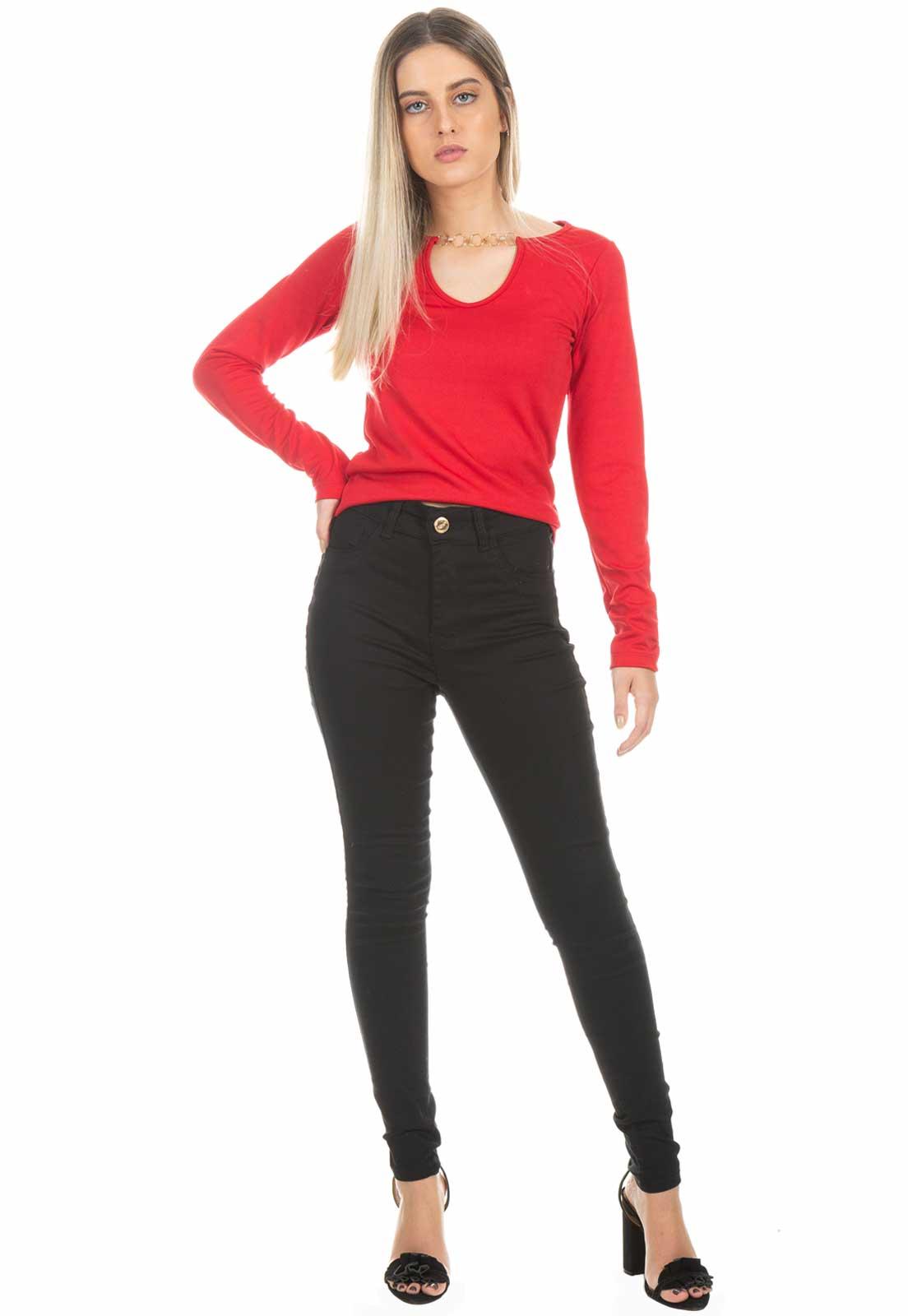 Blusa Dioxes Manga Longa Vermelha
