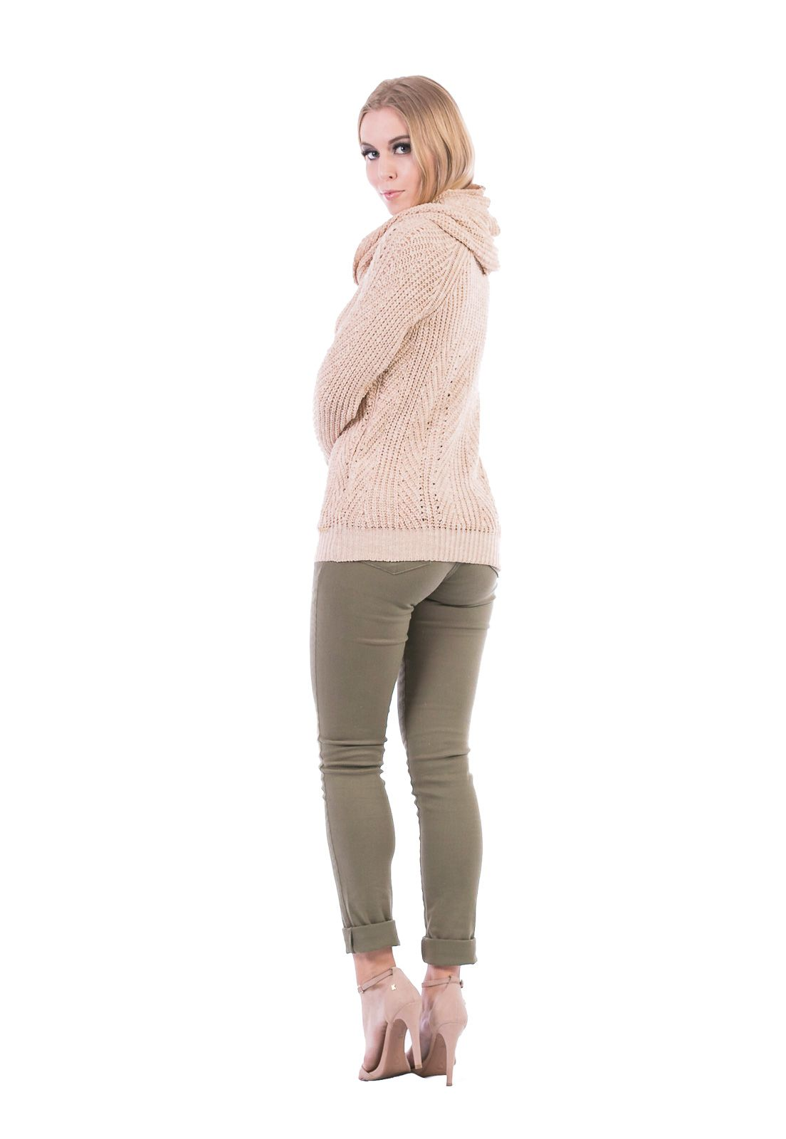 Blusa Dioxes Manga Longa de Tricot com Gola Sobreposta