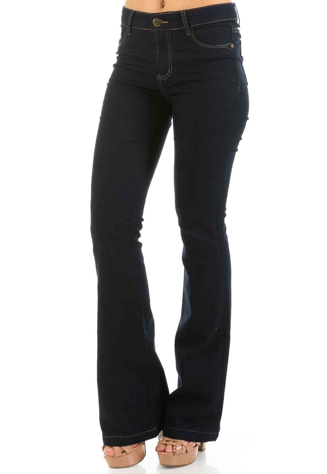 3981dc47e7 Calça Jeans Feminina Cintura Alta Flare Azul Marinho - Dioxes Jeans