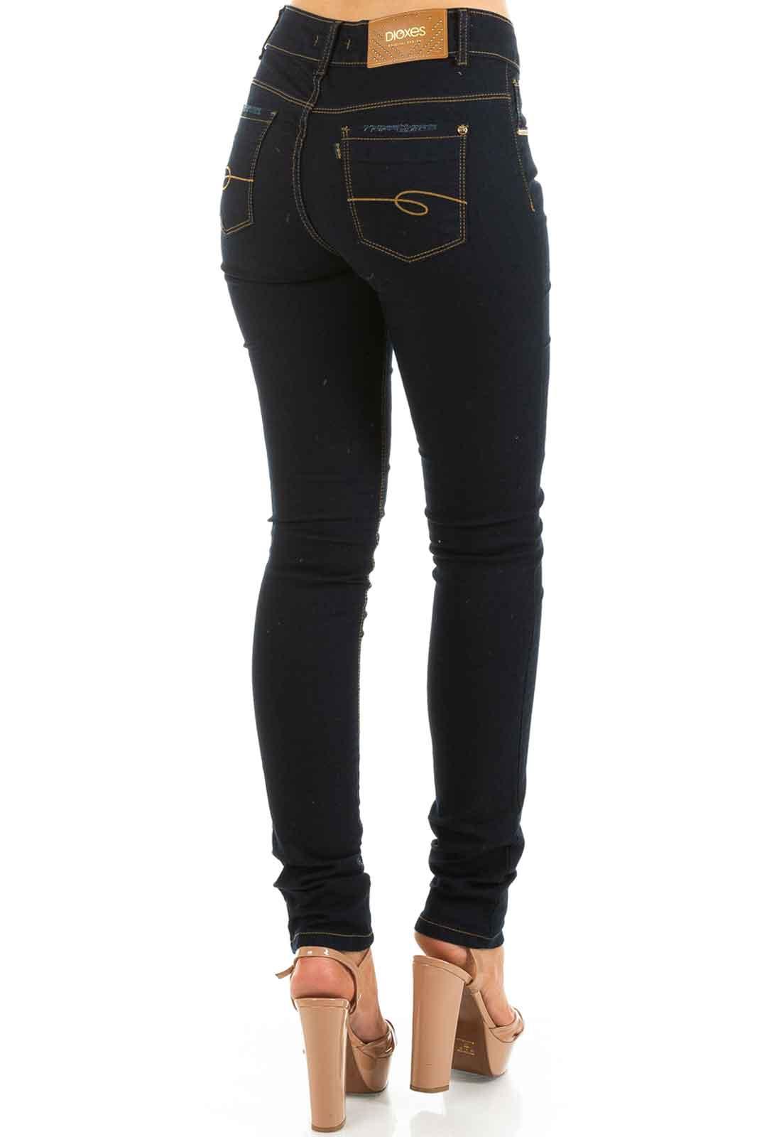 c422097e3 Calça Jeans Feminina Cintura Alta Skinny Azul Marinho - Dioxes Jeans