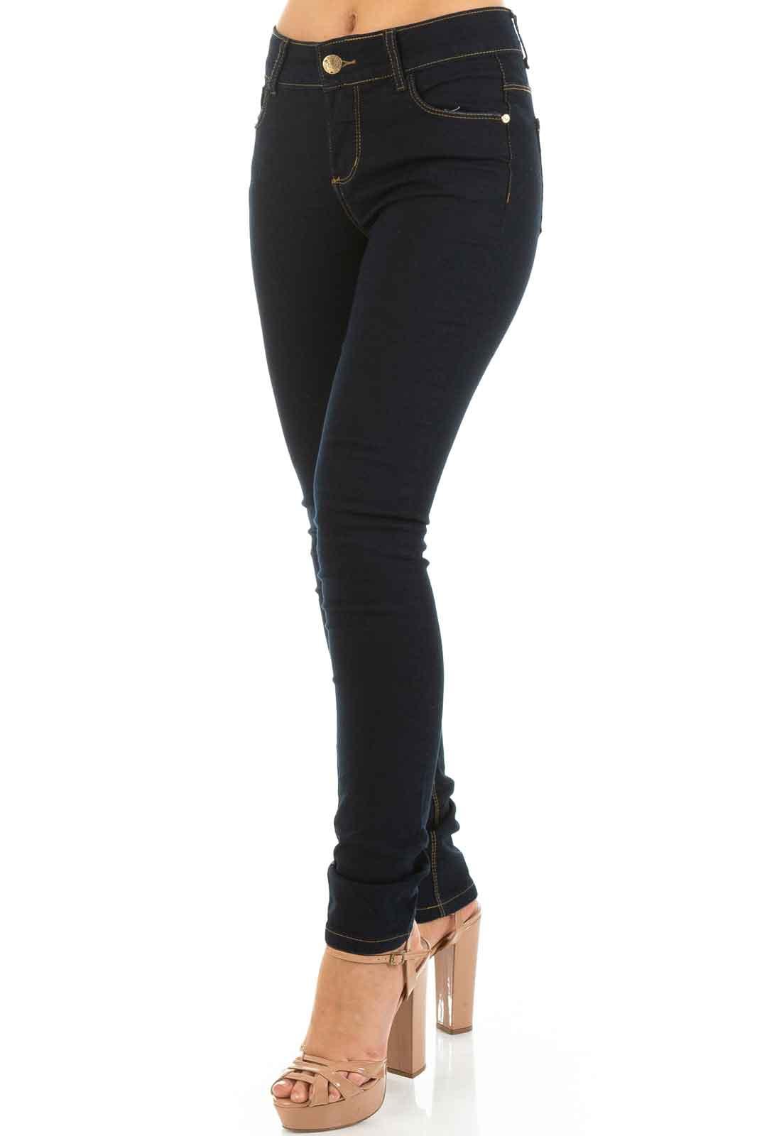 b266f59ad Calça Jeans Feminina Cintura Alta Skinny Azul Marinho - Dioxes Jeans