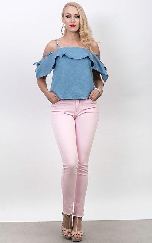 61202317fc Calça Jeans Dioxes Feminina Cintura Alta Skinny com Barra Desfiada Colorida