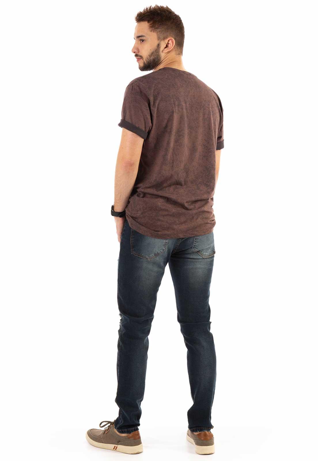 Camiseta Dioxes Estonada com Estampa Marrom