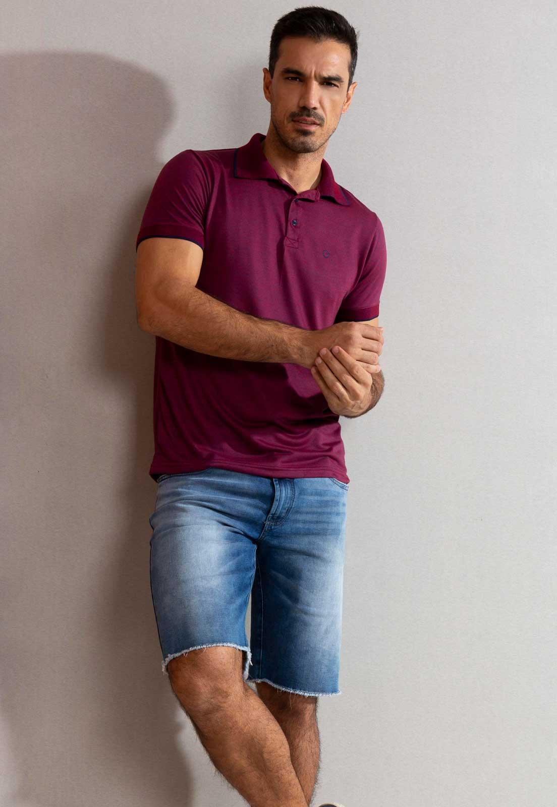 Camiseta Polo Dioxes de Malha Bordô
