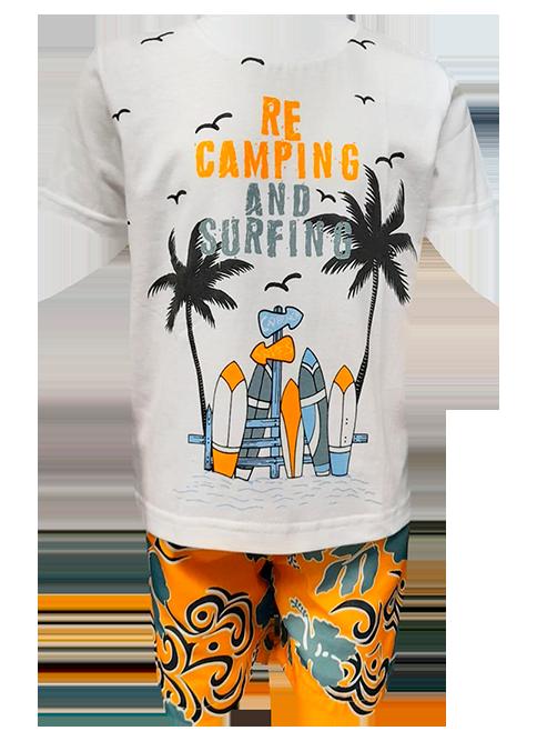 Conjunto Carlan infantil masculino laranja verão
