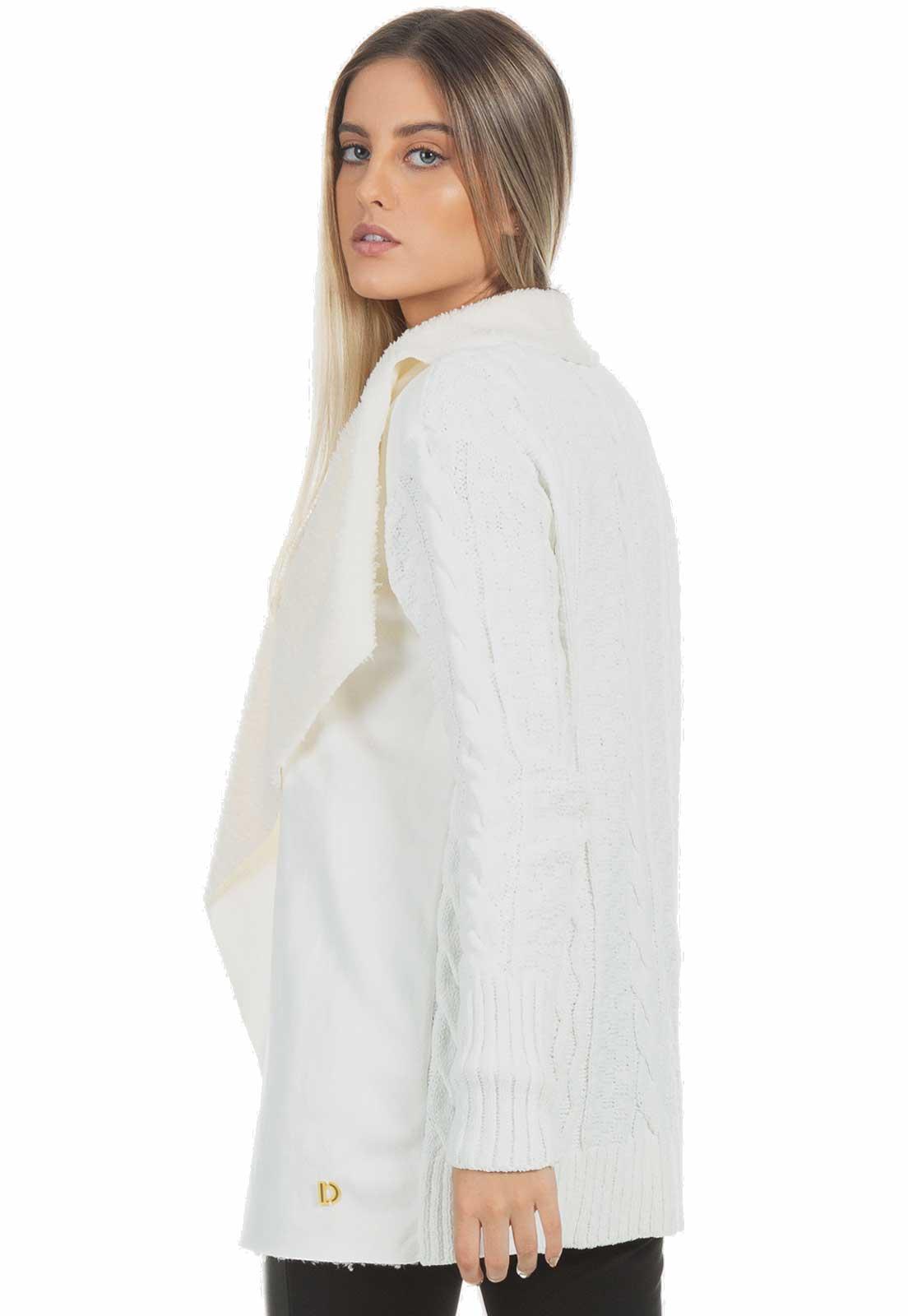 Casaco Dioxes Manga Longa tricot detalhe pele carneirinho