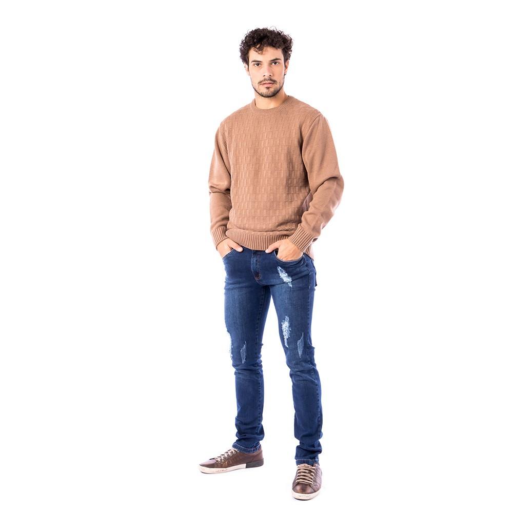 Blusa Carlan Manga Longa de Tricot Bege