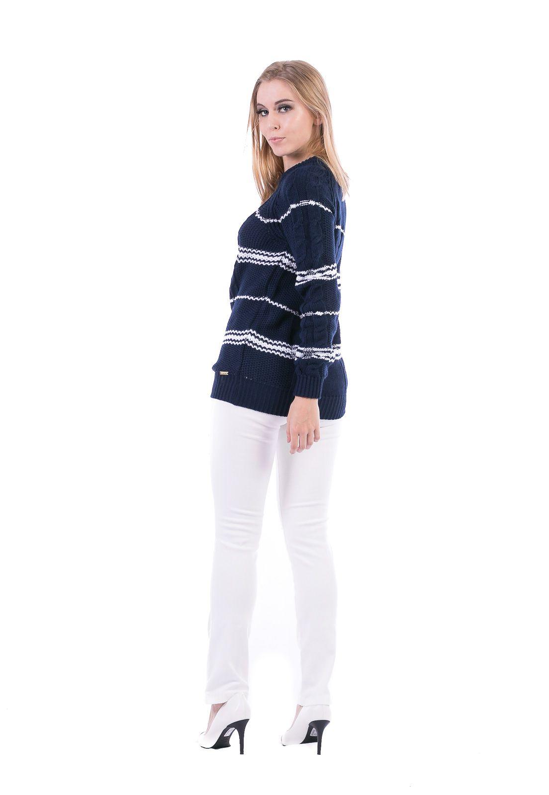 Blusa Dioxes Manga Longa de Tricot Listrada