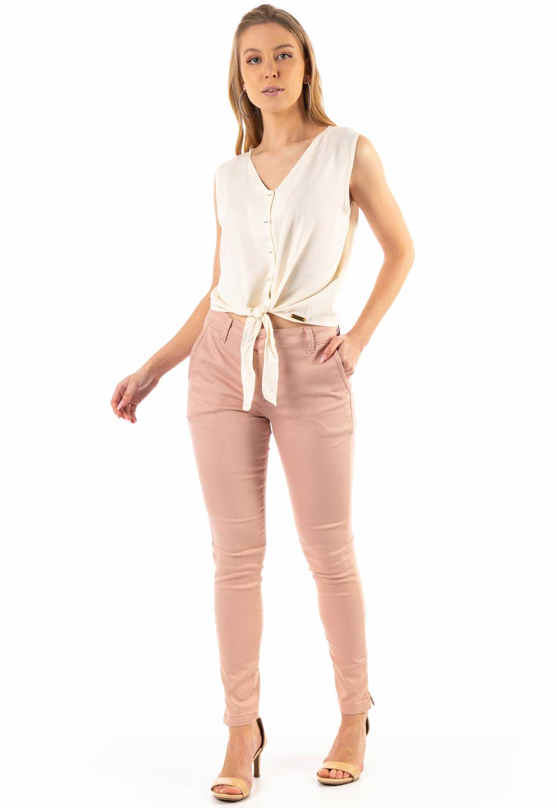 Cropped Dioxes de Crepe com Botões Off White